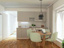 Keittiötila asunto A19 2-3h+kt+var 50,5 m2