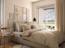 Makuuhuone (fotorealistinen kuva)
