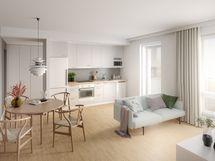 Voit vaikuttaa oman kotisi ilmeeseen, kun olet ajoissa liikkeellä. Viitteellinen kuva 43,5m2 kokoisesta asunnosta..