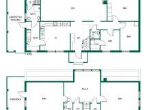 Talon pohjakuva: tilat kahdessa kerroksessa