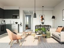 Visualisointikuvassa taiteilijan näkemys 63,5 m2 asunnosta. Kuvassa tehty lisähintaisia muutostöitä keittöin osalta.