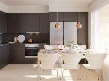 Esimerkkikuva 103 neliöisen huoneiston keittiöstä