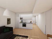 Visualisointi vastaavan asunnon keittiöstä modernilla sisustustyylillä