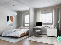 Suurin makuuhuone on tehty kahdesta huoneesta yhdistämällä.