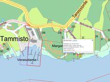 Kartta kiinteistöön kuuluvasta yhteisestä venevalkamasta