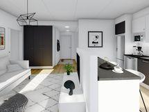 43 m² asunnon yleiskuva, musta sisustusmaailma