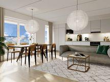 Visualisointikuvassa taiteilijan näkemys asunnon olohuoneesta. Kuvan keittiössä käytetty lisähintaisia materiaalivalintoja.