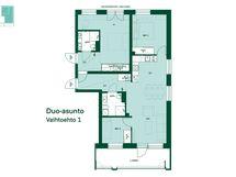 Asunnon vaihtoehtoinen pohjapiirros. Tämä koti on mahdollista yhdistää viereisen asunnon kanssa.