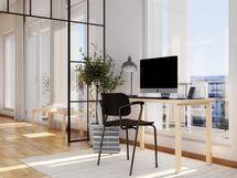 Visualisointikuvassa taiteilijan näkemys 8. kerroksen 70,5 m2 asunnon 51 erillishuoneeksi muutettavasta tilasta. Kuvan lasiseinä on lisähintainen muutostyö.
