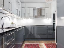 Keittiössä on runsaasti kaappi- ja säilytystilaa.