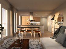 Visualisointikuvassa taiteilijan näkemys aiemmin toteutetun Pisparannan Erinan saman tyyppisestä kodista. Osa keittiön kalusteista ja laitteista lisähintaisia muutostöitä.