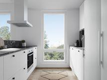 Visualisointikuvassa taiteilijan näkemys A36 keittiötilasta
