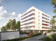 Viisikerroksiseen, rauhalliseen kerrostaloon tulee 43 asuntoa yksiöistä avariin kolmioihin. Viitteellinen kuva.