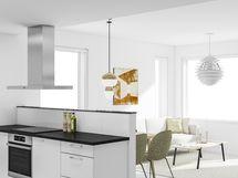 Viitteellinen visualisointikuva olohuoneesta ja keittiöstä.