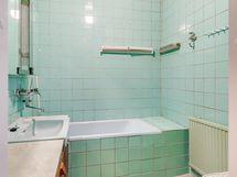 Päärakennuksen kylpyamme toimii hyvin vaikka koiran pesupaikkana, kunhan ei roiski vettä seinille!