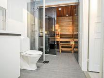 rakentajan aikaisemman kohteen kylpyhuone, laatoissa hyvä valikoima
