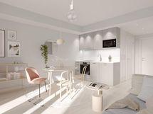 Visualisointi Rosmariinin kodin olohuoneesta Villa-sisustustyylillä