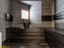 Upea sauna, josta on myös saatu näkymä joelle