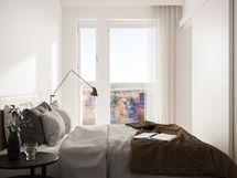 Visualisointikuvassa taiteilijan näkemys 11. kerroksen 38.5 m2:n kodin makuuhuoneesta