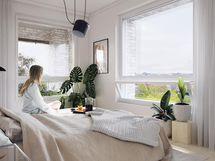 Visualisointikuva 68 m2 asunnon makuuhuoneesta.