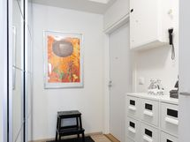Sisäänkäynnissä tilaa avartava peililiukuovellinen kaapisto mm. ulkovaatteille.