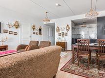 Olohuone ja keittiö ovat yhtenäistä avaraa tilaa.