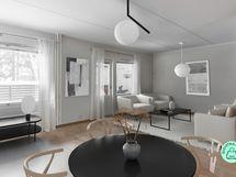 Olohuone, ruokailu ja keittiö yhdistyvät luonnollisesti toisiinsa luoden mahtavaa avaruutta oleskeluun. Käynti terassiparvekkeelle olohuoneesta kruunaa asumisviihtyvyyden.